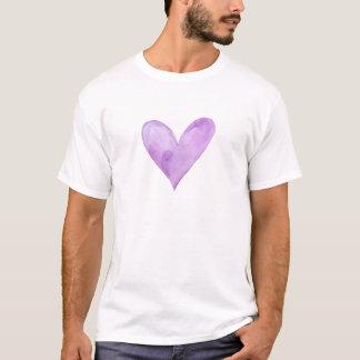 Camiseta Aguarela Purple Heart, coração dos namorados