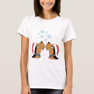 Camiseta Airedales e flocos de neve