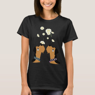 Camiseta Airedales e margaridas