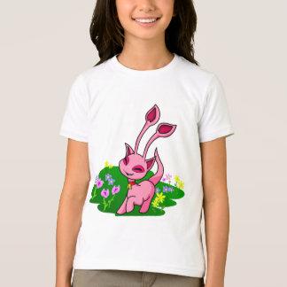 Camiseta Aisha cor-de-rosa Prancing através das flores