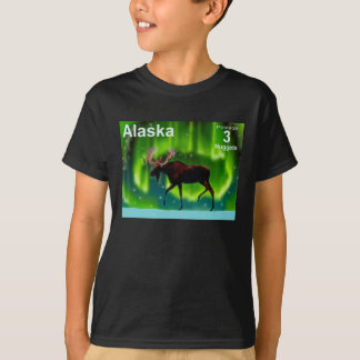 Camiseta Alces da aurora boreal - porte postal de Alaska