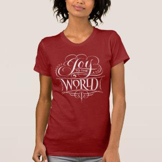 Camiseta Alegria à caligrafia do Natal do quadro do mundo