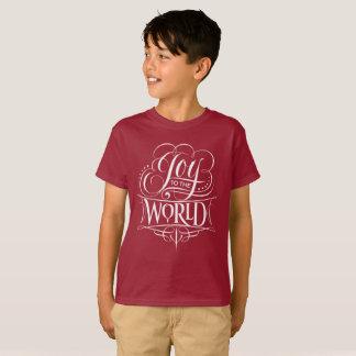 Camiseta Alegria à rotulação do quadro do Natal do mundo
