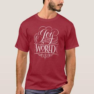 Camiseta Alegria ao vermelho do Natal da caligrafia do giz
