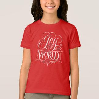 Camiseta Alegria ao vermelho do Natal da caligrafia do rico