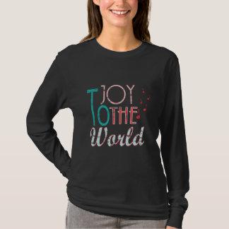 Camiseta Alegria às notas da música da tipografia do Natal