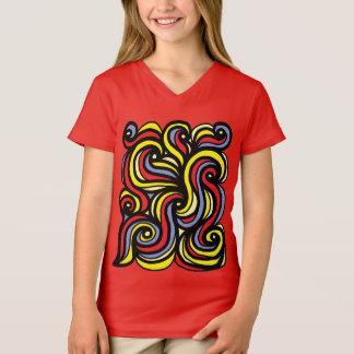 """Camiseta """"Além"""" do t-shirt do V-Pescoço das meninas"""