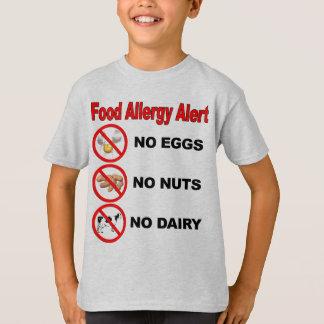 Camiseta Alerta da alergia de comida