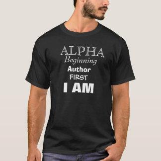 Camiseta ALFA, começo, autor, PRIMEIRAMENTE, EU SOU