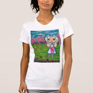 Camiseta Alice no país das maravilhas e nos flamingos