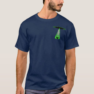 Camiseta Alienígena cinzenta do UFO na luz verde w/logo