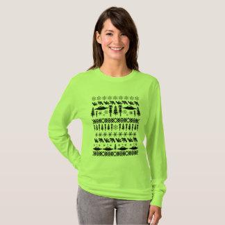 Camiseta Aliens da camisola do Natal & UFO feios - preto