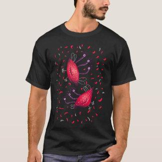 Camiseta Aliens Eyed dos desenhos animados do vermelho três