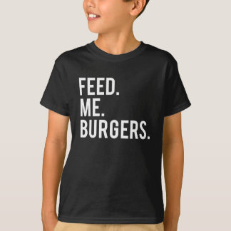 Camiseta Alimente-me o impressão dos hamburgueres
