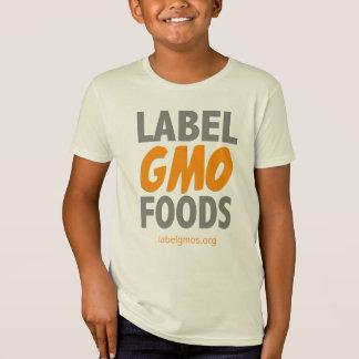 Camiseta Alimentos de GMO da etiqueta