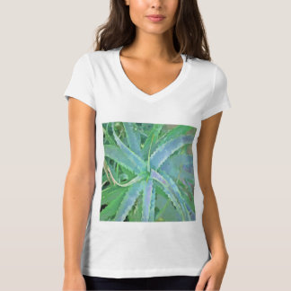 Camiseta Aloés verde cinzento do pop art