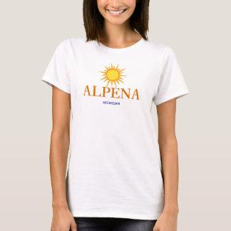 Camiseta Alpena, Michigan - com ícone de Sun do ouro