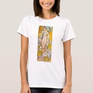 Camiseta Alphonse Mucha - lírio - beira branca