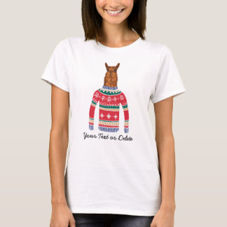 Camiseta Amante bonito do lama da camisola feia engraçada