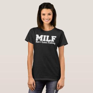 Camiseta Amante da pesca: Homem que eu amo pescar o preto