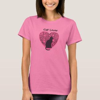 Camiseta Amante do gato, gato preto em corações cor-de-rosa