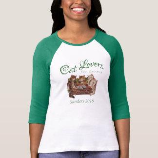 Camiseta Amantes do gato para o t-shirt verde das máquinas