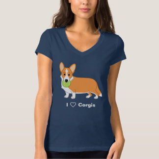 Camiseta Amantes vermelhos bonitos do cão do Corgi de Galês