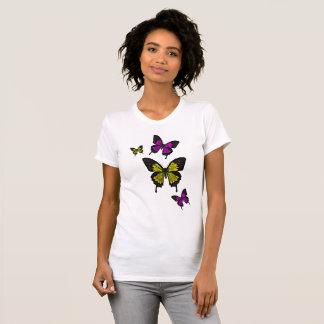 Camiseta Amarelo/borboletas do ouro, borboleta da cauda da