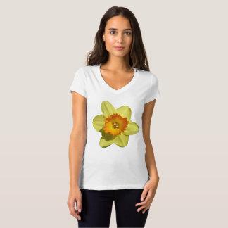 Camiseta Amarelo com o t-shirt alaranjado do V-pescoço do
