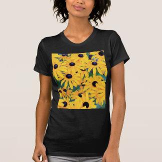Camiseta Amarelo das flores de Susan de olhos pretos dentro