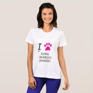 Camiseta Ame meu crachá do Spaniel de rei Charles
