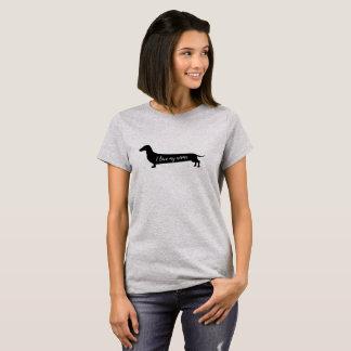 Camiseta Ame meu t-shirt das mulheres do cão do wiener