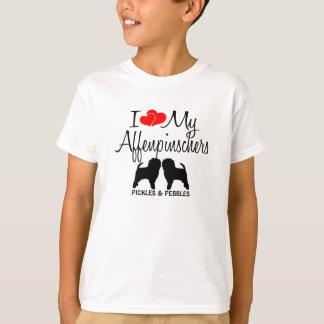 Camiseta Ame meus DOIS cães do Affenpinscher