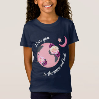 Camiseta Ame-o ao t-shirt da lua e da menina traseira