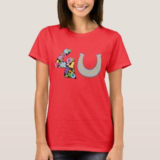 Camiseta Ame para você a sorte em ferradura floral do