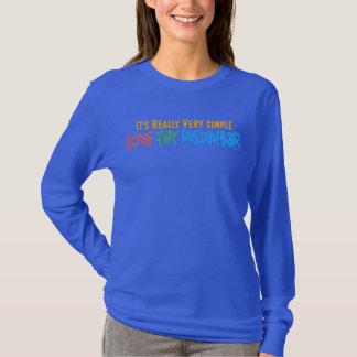 Camiseta Ame Thy vizinho - coração, sinal de paz