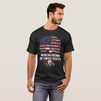 Camiseta americano crescido com raizes suíças