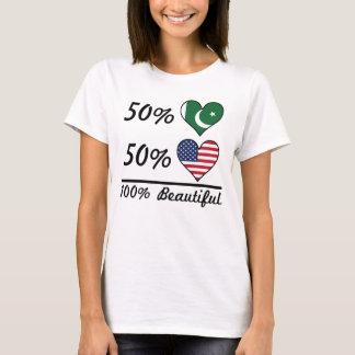 Camiseta Americano do paquistanês 50% de 50% 100% bonito