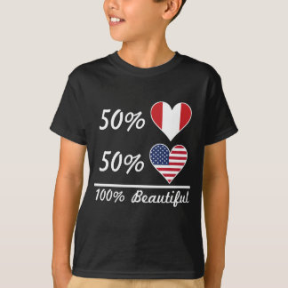 Camiseta Americano dos Peruvian 50% de 50% 100% bonito