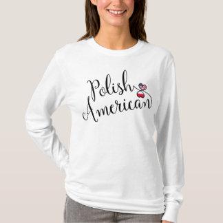 Camiseta Americano polonês T entrelaçado dos corações