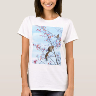 Camiseta Amigos - amigos do esquilo e do pássaro que comem
