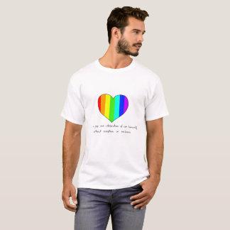 Camiseta amor, alegria e a celebração de nossa humanidade