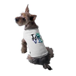 Camiseta Amor, casaco do impressão da pata do cão ou