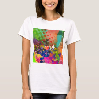 Camiseta Amor da natureza com fundo multicolorido