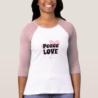 Camiseta Amor da paz em flutuar corações cor-de-rosa