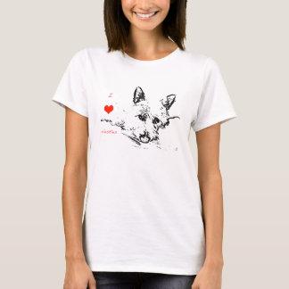 Camiseta Amor de Westies, desenho preto e branco