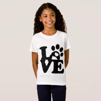 Camiseta Amor do coração do impressão das patas do t-shirt