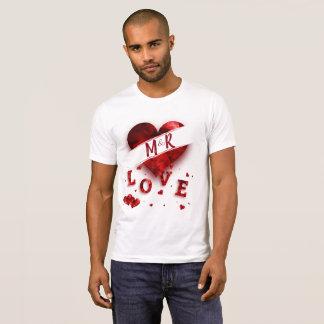 Camiseta Amor do monograma do coração