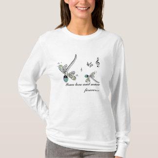 Camiseta amor e música da paz da libélula para sempre…