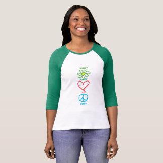 Camiseta Amor e paz de flower power
